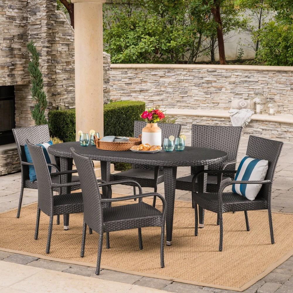 Sophia 7pc Wicker Dining Set - Gray - Christopher Knight Home
