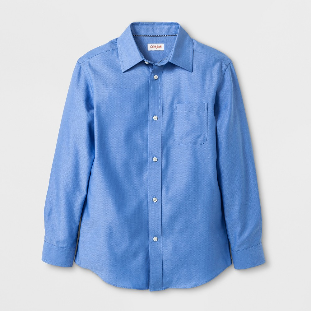 Kids 1950s Clothing & Costumes: Girls, Boys, Toddlers Boys Long Sleeve Button-Down Shirt - Cat  Jack Blue L $14.99 AT vintagedancer.com