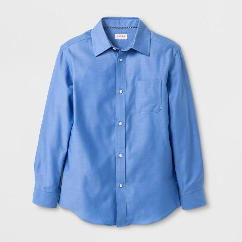 e2da57f4270f Boys' Long Sleeve Button-Down Shirt - Cat & Jack™ Blue : Target