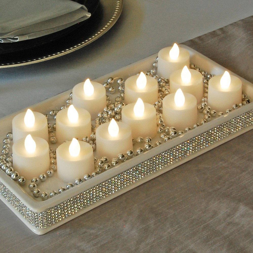 Image of 12ct Battery Operated LED Flickering Tea Lights Warm White