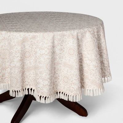 70  Round Demask Tassel Tablecloth Beige - Threshold™