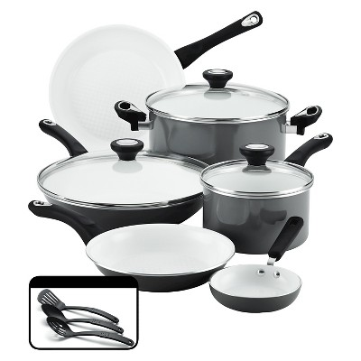 Farberware® PURECOOK(tm)Ceramic Nonstick Cookware Set - Gray(12Pc)