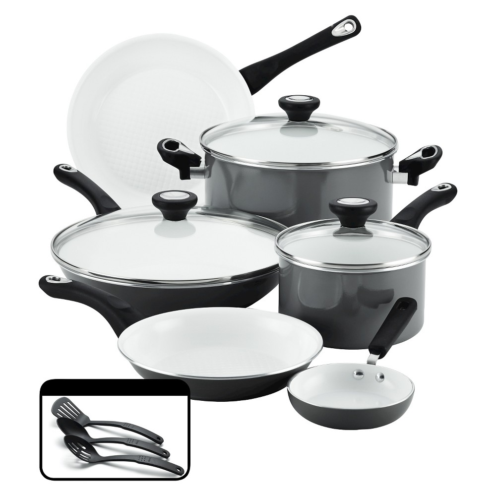 Farberware Purecook(tm) Ceramic Nonstick Cookware Set - Gray(12Pc)