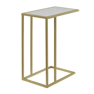 """20"""" Modern Two-Tone C Side Table with Metal and Faux Marble Gold - Saracina Home"""
