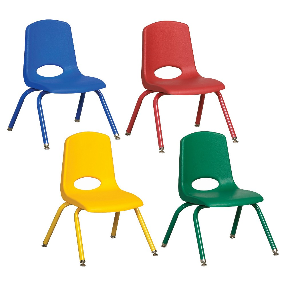 ECR4Kids Stack Chair 14 Assorted Pack with Gliders - Multi-Colored, Blue