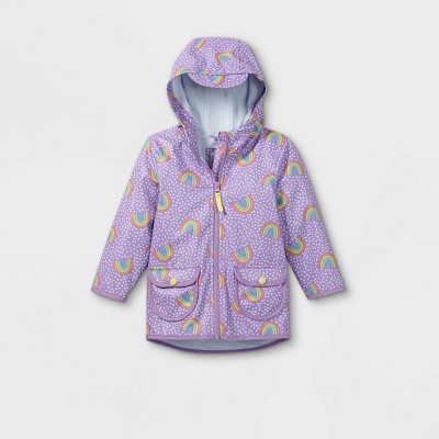 Toddler Girls' Rainbow Print Rain Jacket - Cat & Jack™ Purple