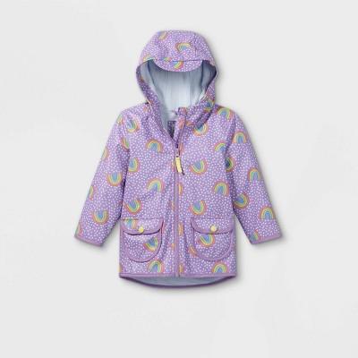 Toddler Girls' Rainbow Print Rain Jacket - Cat & Jack™ Purple