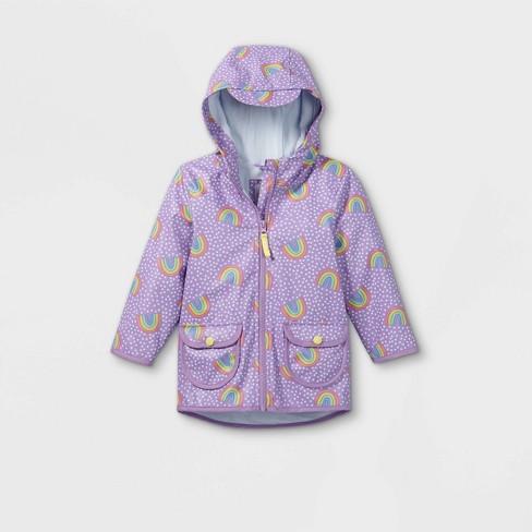 Toddler Girls' Rainbow Print Rain Jacket - Cat & Jack™ Purple - image 1 of 2