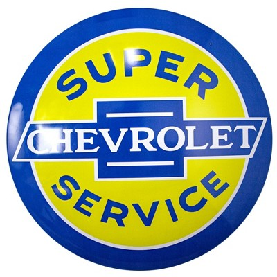 Licensed Chevrolet Super Service Dome Metal Sign Dark Blue/Yellow - Crystal Art Gallery