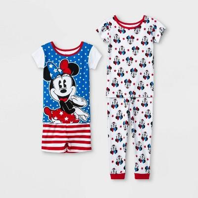 Baby Girls' Minnie Mouse 4pc Pajama Set - White/Blue/Red 12M