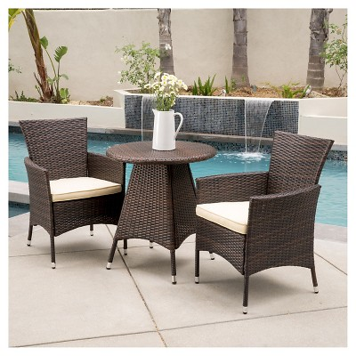 Melissa 3 Piece Wicker Patio Bistro Set With Cushions   Brown   Christopher  Knight Home : Target