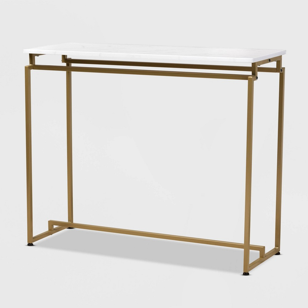 Image of Renzo Metal Console Table with Faux Marble Tabletop White/Gold - Baxton Studio, White Gold