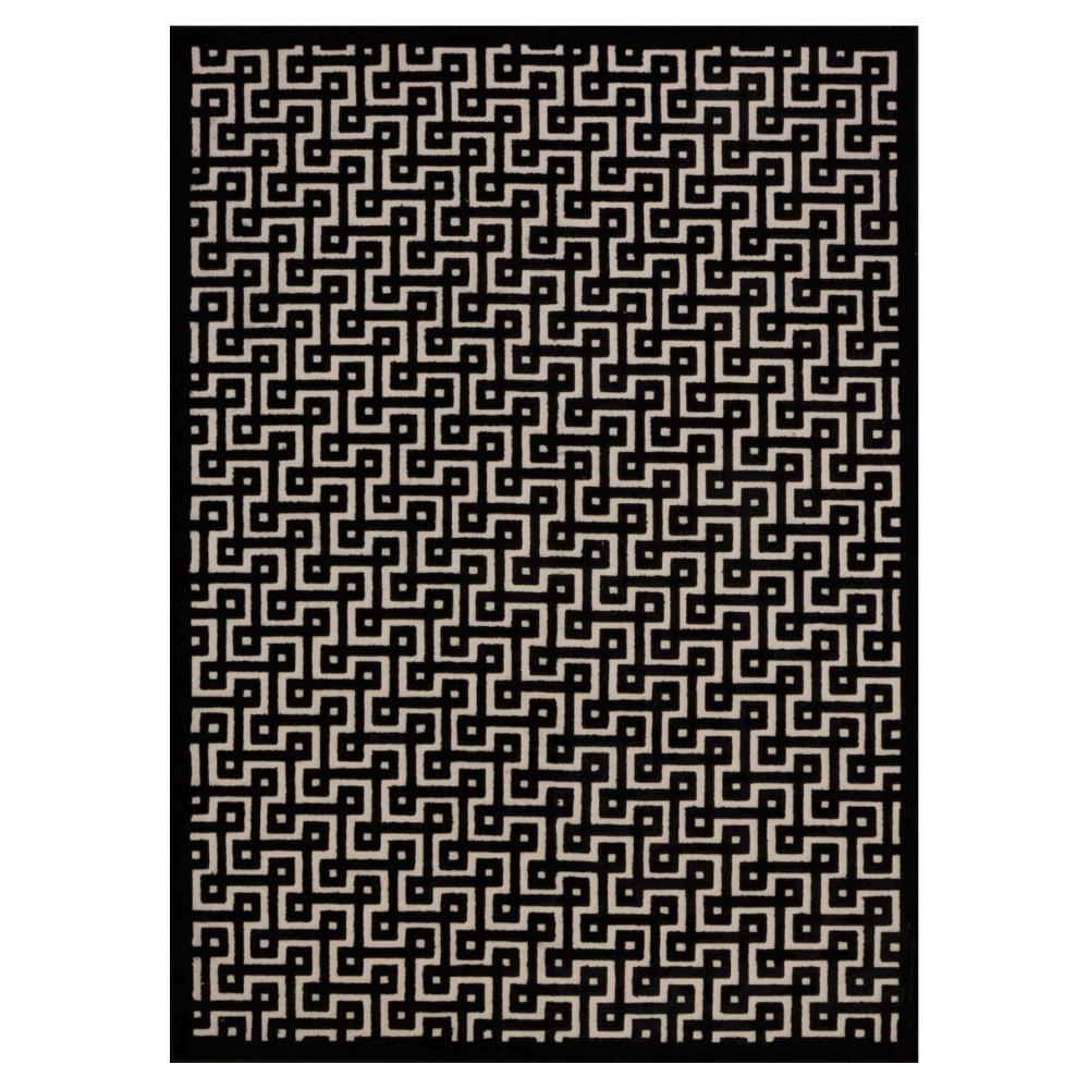 "Image of ""Nourison Geometric Ladder Ultima Accent Rug - Ivory/Black (3'6""""X5'6"""")"""
