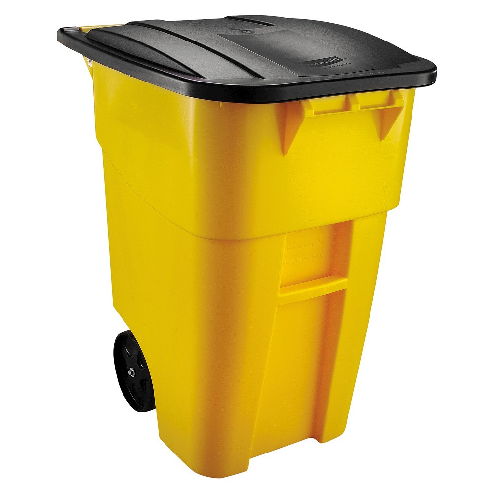 Image of Rubbermaid Trash Can with Lid - Yellow