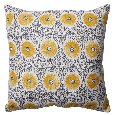 Pillow Perfect Riya Throw Pillow - 16.5 x16.5  - Gray/Yellow