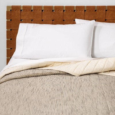 Full/Queen Textured Stripe Quilt Neutral/Black - Opalhouse™