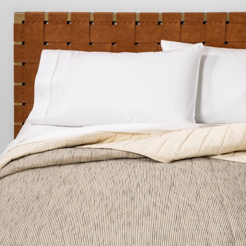 Full/Queen Textured Stripe Quilt Neutral/Black  - Opalhouse™ - image 1 of 4