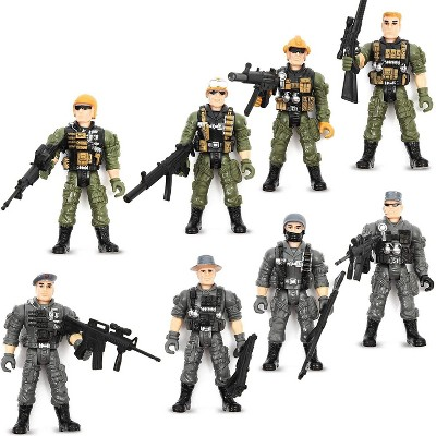 """8-Pack Military SWAT Soldiers Action Figures, Special Force Army Men Toy Soldier Set with Accessories, 4.5"""" Tall"""