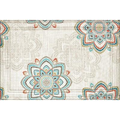 2'x3' Wyndham Weave Mosaic Tiles Medallion Doormat Ivory/Blue - Apache Mills