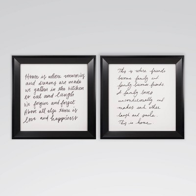 """(Set of 2)13"""" x 13"""" Friends and Family Framed Printed Canvas Wall Art - Threshold™"""