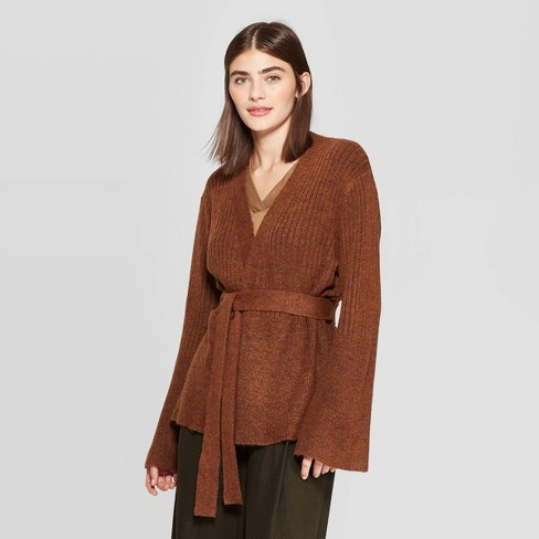 Women's Long Sleeve Open-Front Belted Rib-Knit Cardigan - Prologue™ Brown - image 1 of 3