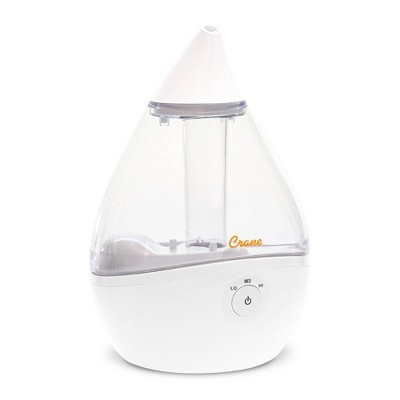 Crane Filter-Free Ultrasonic Cool Mist Humidifier - Clear/White
