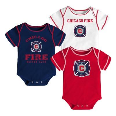Youngest Fan 3pk Body Suit Set Chicago Fire 3-6 M