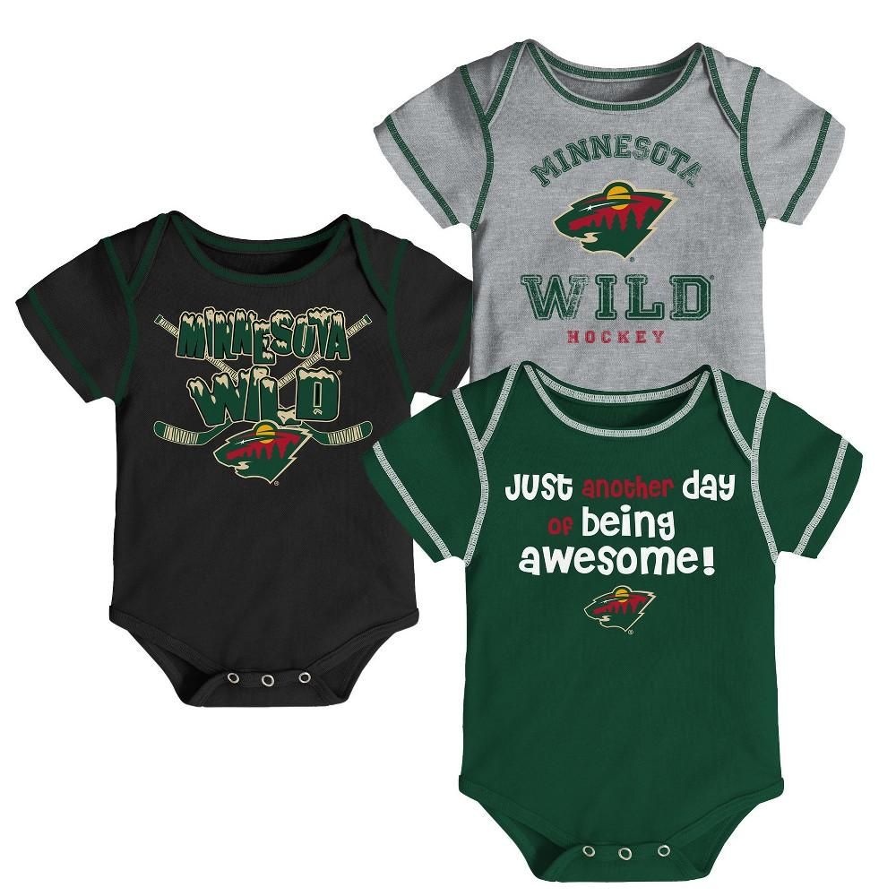Minnesota Wild Baby Boys' 3pk Bodysuit Set 12 M, Size: 12M