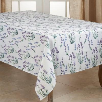 "140"" x 65"" Polyester Lavender Print Tablecloth - Saro Lifestyle"