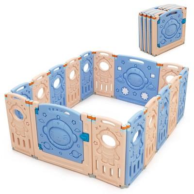 Babyjoy 16-Panel Foldable Baby Playpen Kids Activity Center w/ Lockable Door