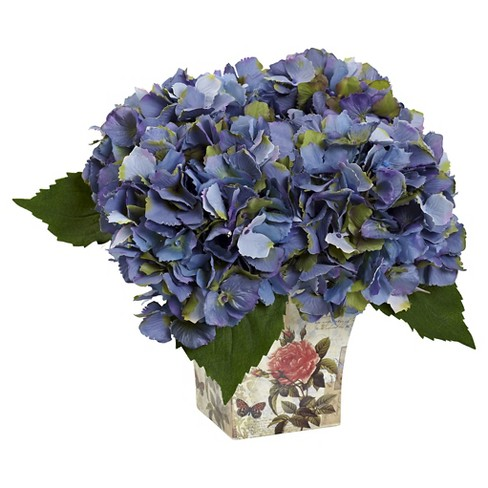 Hydrangea Silk Arrangement with Floral Planter - Nearly Natural - image 1 of 1
