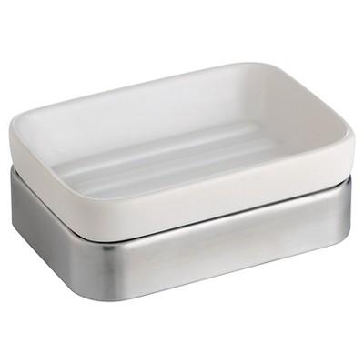 Gia Ceramic Soap Dish White/Brushed - iDESIGN