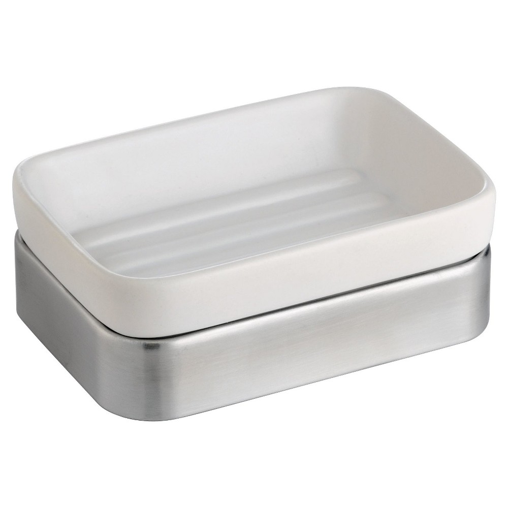 Image of Gia Ceramic Soap Dish White/Brushed - iDESIGN