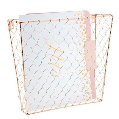 Paper Junkie 3 Piece Set Rose Gold Wall Mount Hanging File Magazine Rack Organizer Document Letter Tray