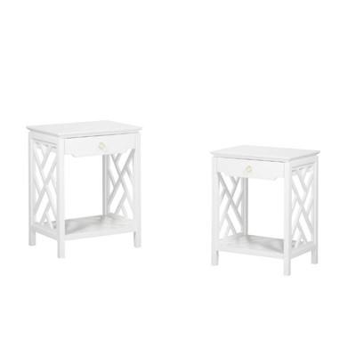 (Set of 2) Modern Night Stand in White - Comfort Pointe
