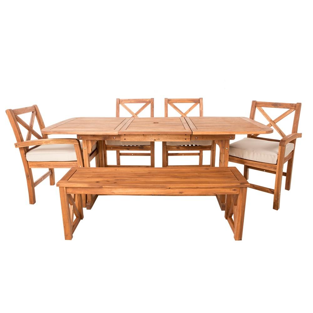 6pc Acacia X - Back Patio Dining Set with Cushions - Brown - Saracina Home