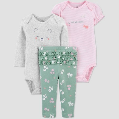 Baby Girls' Bear Floral Top & Bottom Set - Just One You® made by carter's Mint Newborn