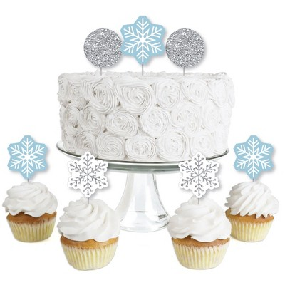 Big Dot of Happiness Winter Wonderland - Dessert Cupcake Toppers - Snowflake Holiday Party and Winter Wedding Clear Treat Picks - Set of 24