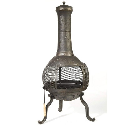 Kay Home Products 30199 Sonora Outdoor Wood Burning Cast Iron Metal Chimenea Fireplace Fire Pit