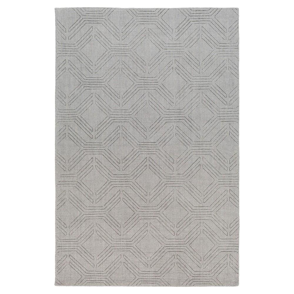 Silver Gray Abstract Loomed Accent Rug - (2'X3') - Surya, Medium Gray