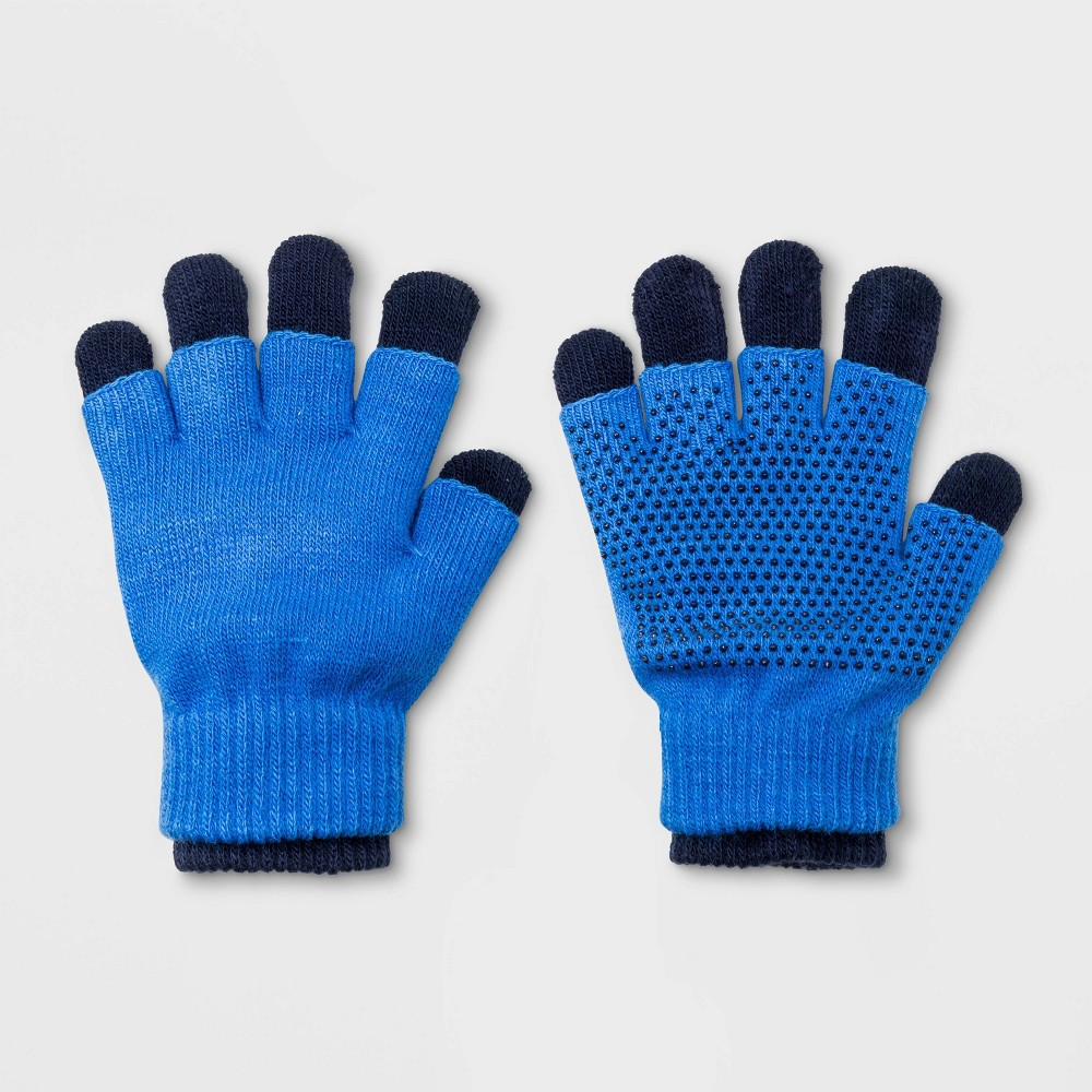 Image of Boys' Dot Print 3-In-1 Gloves - Cat & Jack Blue One Size, Boy's