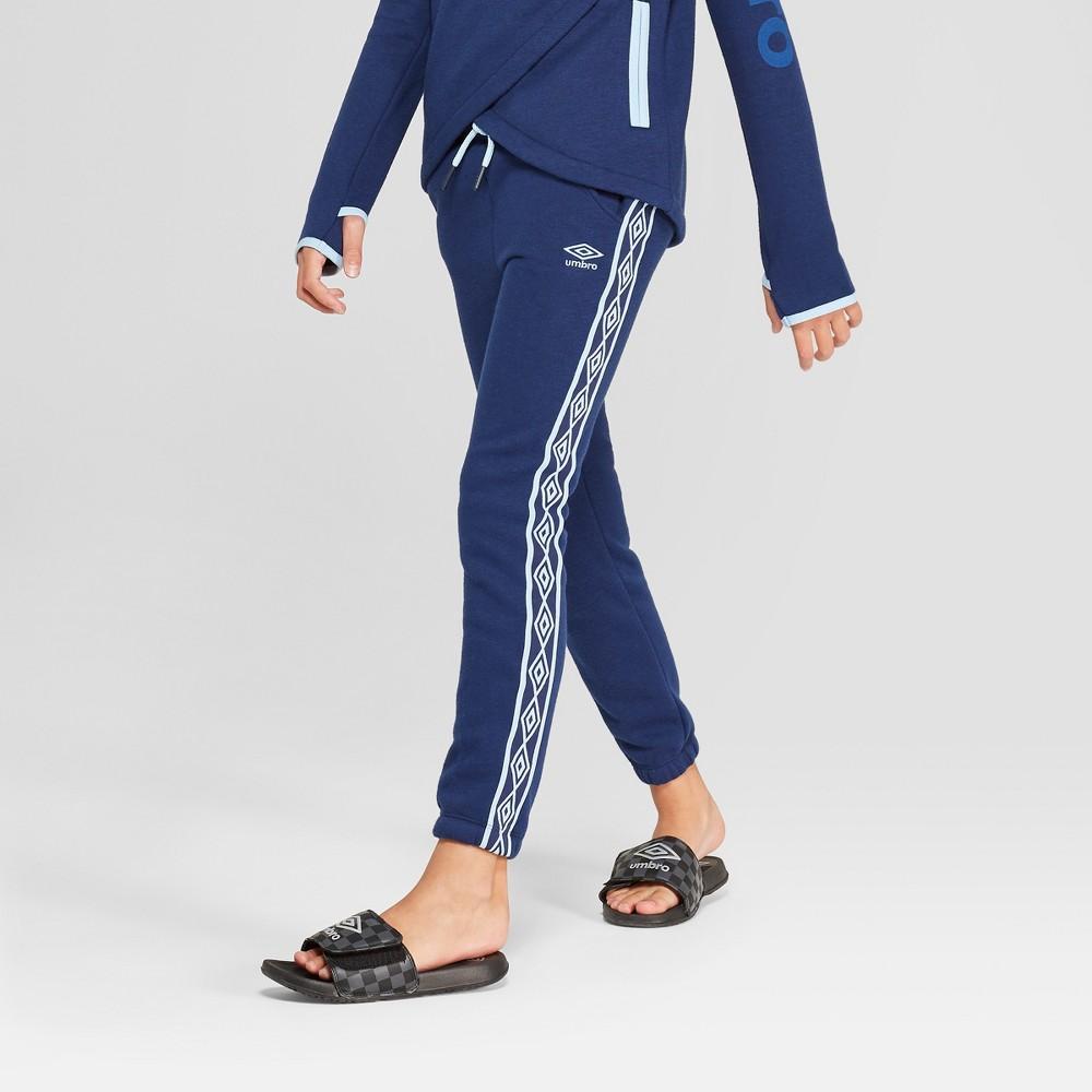 Umbro Girls' Double Diamond Fleece Jogger Pants - Navy L, Navy Blue
