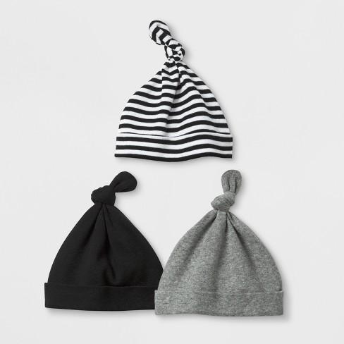 Baby Boys  Save The Day 3pk Hats - Cloud Island™ Black   Target 2f01c07da4a