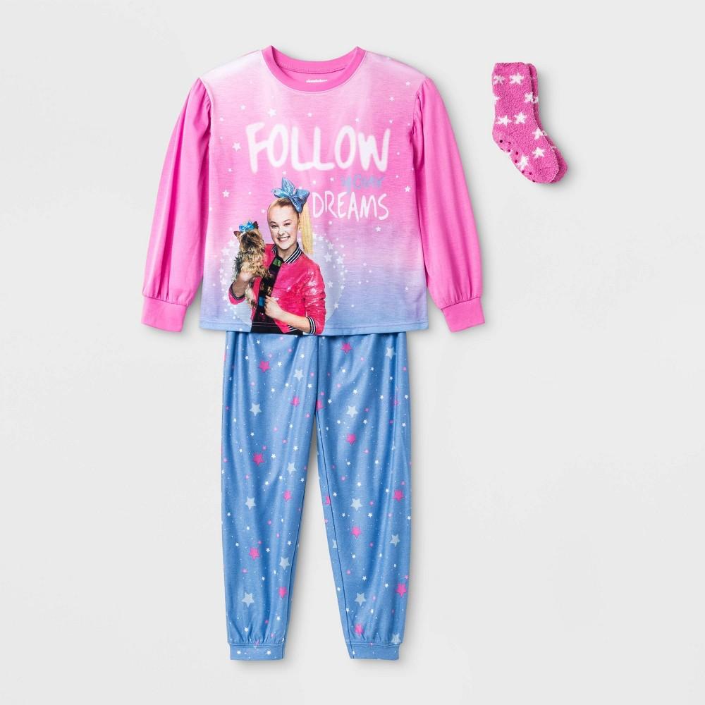 Image of Girls' JoJo Siwa 2pc Pajama Set with Socks - Pink, Girl's, Size: Small