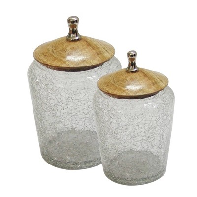 Set Of 2 Crackle Glass Bathroom Canisters with Wooden Lids Clear - Nu Steel