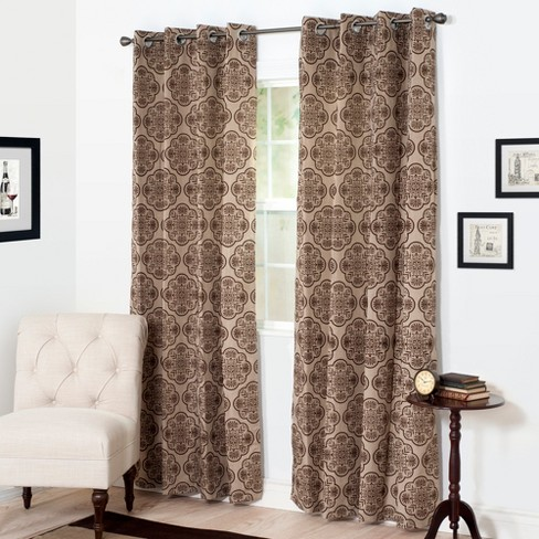 "Yorkshire Home Dana Flocked Curtain Panel- 108"" - Brown - image 1 of 4"