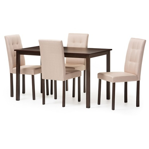 Andrew Modern & Contemporary 5-Piece Fabric Upholstered Grid -tufting Dining Set - Dark brown & Beige - Baxton Studio - image 1 of 3