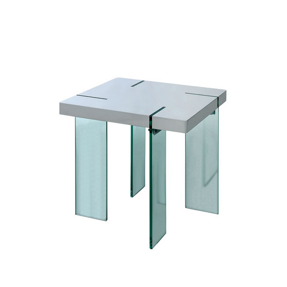 Lange Glass End Table White - Mibasics