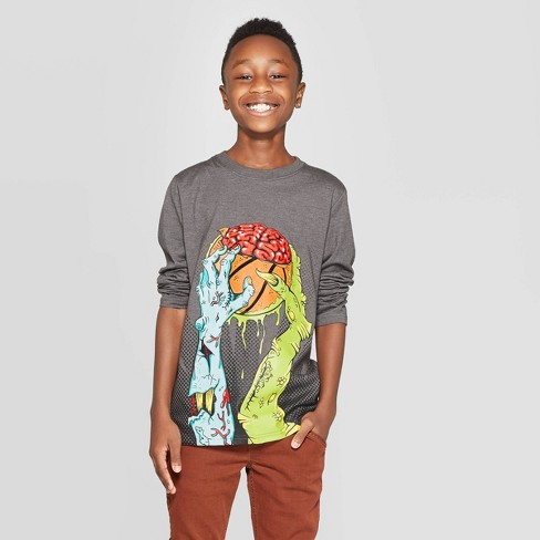 Boys' Long Sleeve Graphic T-Shirt - Cat & Jack™ Charcoal Gray - image 1 of 3