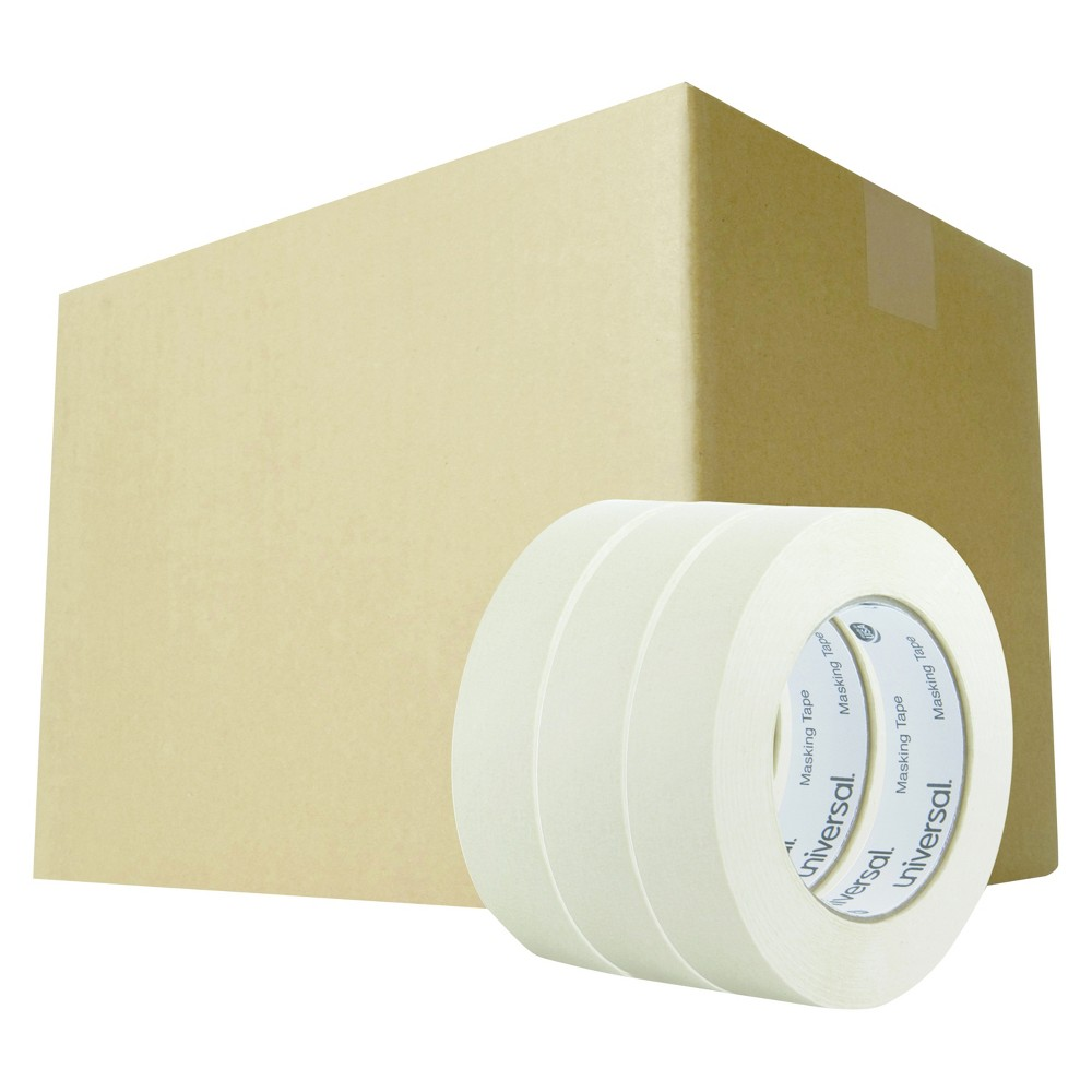 Universal General Purpose Masking Tape, 24mm x 54.8m, 3 Core, 3pk, 12 pks/Carton, Beige